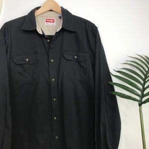 90s Wrangler Black Utilitarian Button Down Shirt